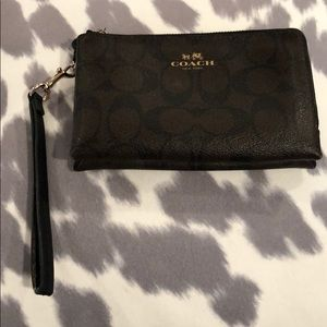 Coach wristlet choc and light tan with gold